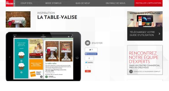 Table Valise création unique présentée dans la presse en mars 2014. Cahier Maison