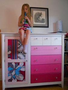 Créations personnalisées meubles en bois couleur rose - Aube design