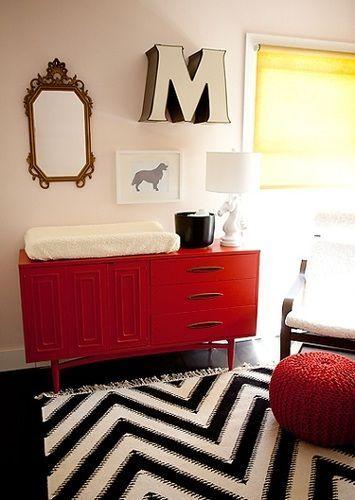 table à langer rouge
