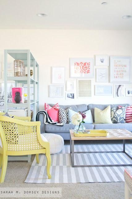 Salon avec pastel jaune - inspiration déco printemps 2016