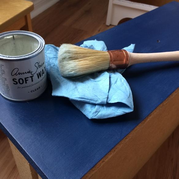 chiffon bleu cire