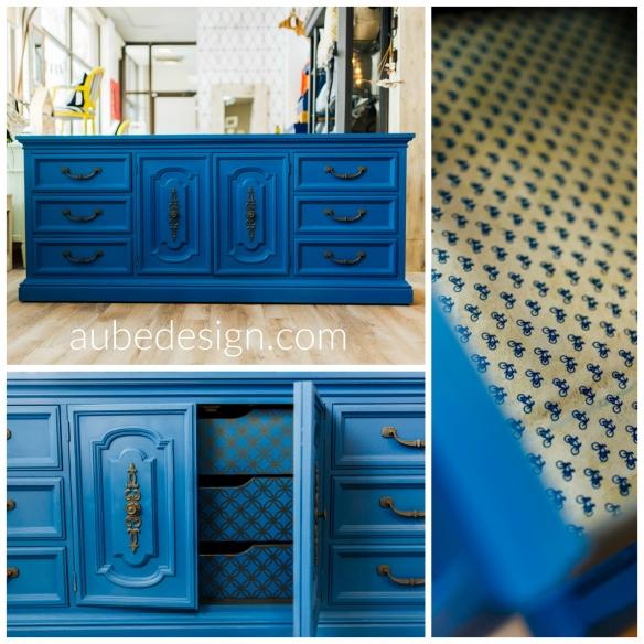 Collection Aube Design - Chalk paint - Napoléonic blue + Greek blue. Créations personnalisée pour meuble à langer bébé. Crédit photo : Marie-éve Rompré